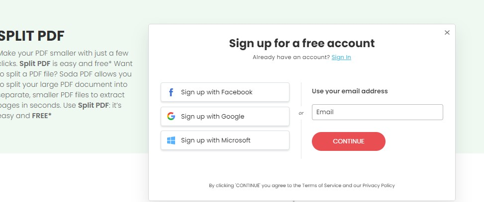 Sign Up - Create Account - Split PDF - Online Tool - How To Extract Pages from PDFs for FREE - Soda PDF