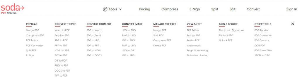 Soda PDF Online - Online Tools - Soda PDF
