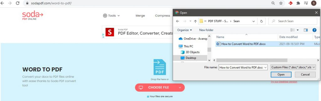 Choose File - Upload Word Document - How To Convert Word to PDF - Soda PDF