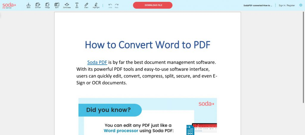 PDF Preview - Converted Word Document to PDF - How To Convert Word to PDF - Soda PDF